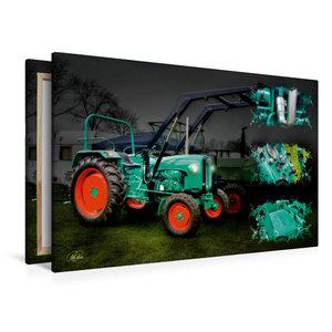 Premium Textil-Leinwand 120 cm x 80 cm quer Oldtimer Traktor Kra