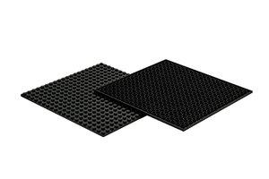 4x Bauplatte schwarz 20x20 Noppen, 16x16xcm - Basis für Spielzeu