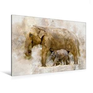Premium Textil-Leinwand 120 cm x 80 cm quer Elefanten - künstler