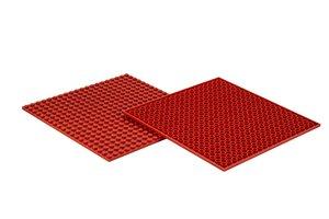 4x Bauplatte rot 20x20 Noppen, 16x16xcm - Basis für Spielzeugbau
