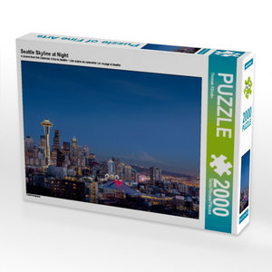 Seattle Skyline at Night 2000 Teile Puzzle quer