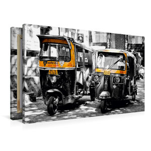 Premium Textil-Leinwand 90 cm x 60 cm quer Indien - Tuk Tuk