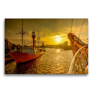 Premium Textil-Leinwand 75 cm x 50 cm quer Feuerschiff Weser am