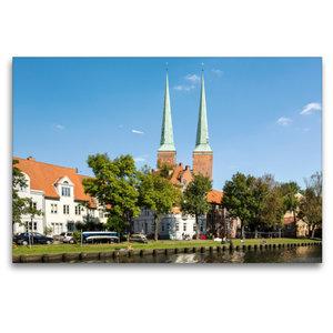 Premium Textil-Leinwand 120 cm x 80 cm quer Lübecker Dom