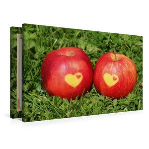 Premium Textil-Leinwand 90 cm x 60 cm quer Äpfel mit Herz