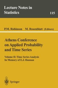 Athens Conference on Applied Probability and Time Series Analysi