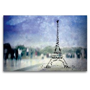 Premium Textil-Leinwand 120 cm x 80 cm quer PARIS Trocadero und