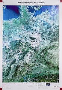 Satellitenbildkarte Deutschland 1 : 750 000. Wandkarte plano, ge