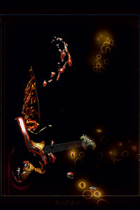 Premium Textil-Leinwand 50 cm x 75 cm hoch Gitarrist