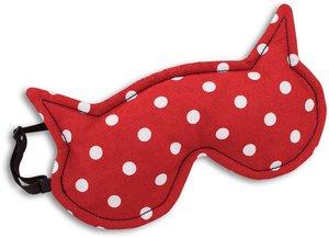 Schlafmaske, Die Katze Luna, Farbe: Polka dot rot / Mitternacht