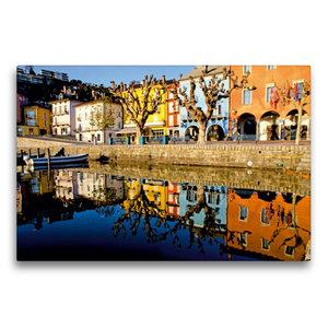 Premium Textil-Leinwand 75 cm x 50 cm quer Uferpromenade in Asco