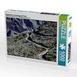 Serpentinen vor Santiago del Teide 1000 Teile Puzzle quer
