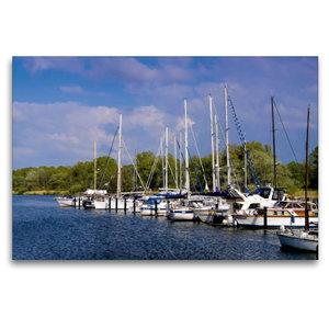 Premium Textil-Leinwand 120 cm x 80 cm quer Yachthafen Hooksiel