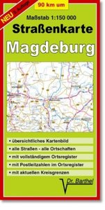 Neunzig km um Magdeburg. 1 : 150 000. Straßenkarte