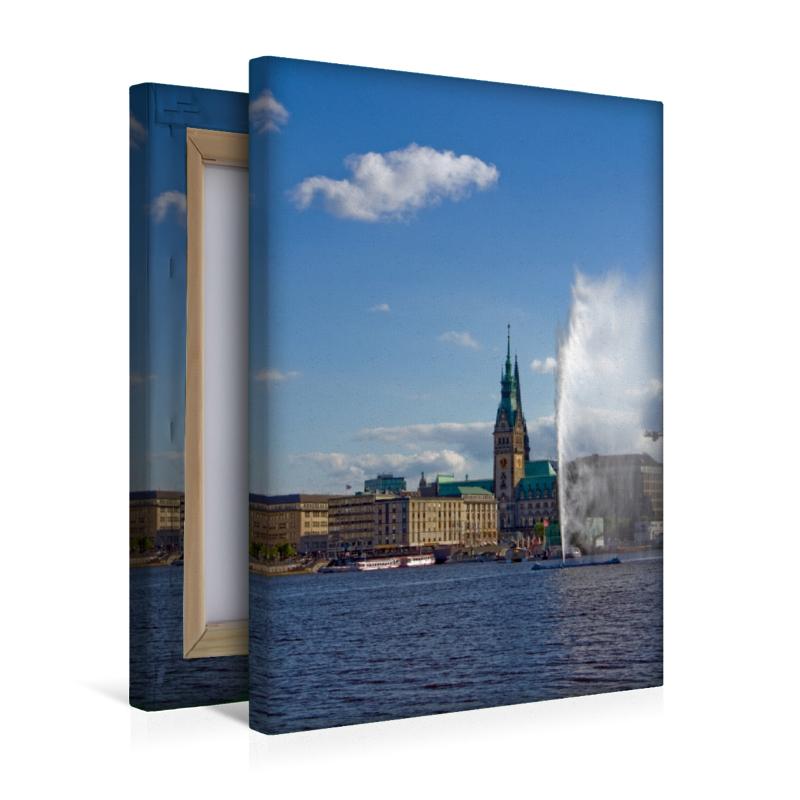 Premium Textil-Leinwand 30 cm x 45 cm hoch Wandbild Alsterfontän - zum Schließen ins Bild klicken
