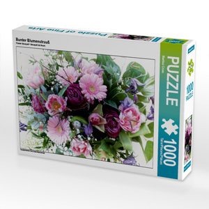 Bunter Blumenstrauß 1000 Teile Puzzle quer