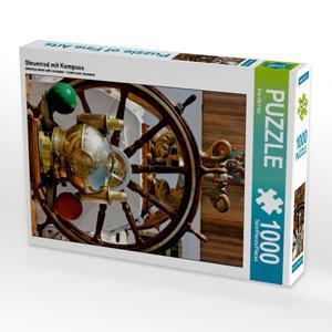 CALVENDO Puzzle Steuerrad mit Kompass 1000 Teile Lege-Größe 48 x