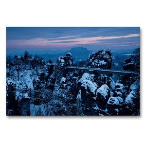 Premium Textil-Leinwand 90 cm x 60 cm quer Winter an der Bastei