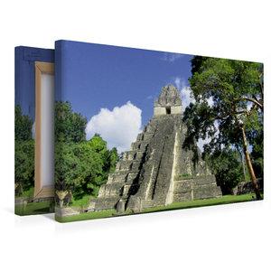 Premium Textil-Leinwand 45 cm x 30 cm quer Maya Pyramide in Tika