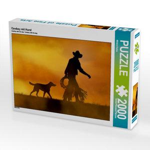 CALVENDO Puzzle Cowboy mit Hund 2000 Teile Lege-Größe 90 x 67 cm
