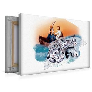 Premium Textil-Leinwand 45 cm x 30 cm quer Jesus hilft den Fisch