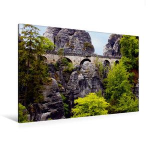 Premium Textil-Leinwand 120 cm x 80 cm quer Basteibrücke im Elbs