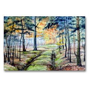 Premium Textil-Leinwand 90 cm x 60 cm quer Waldweg