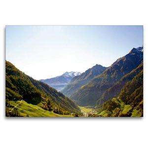 Premium Textil-Leinwand 120 cm x 80 cm quer Blick ins Tal
