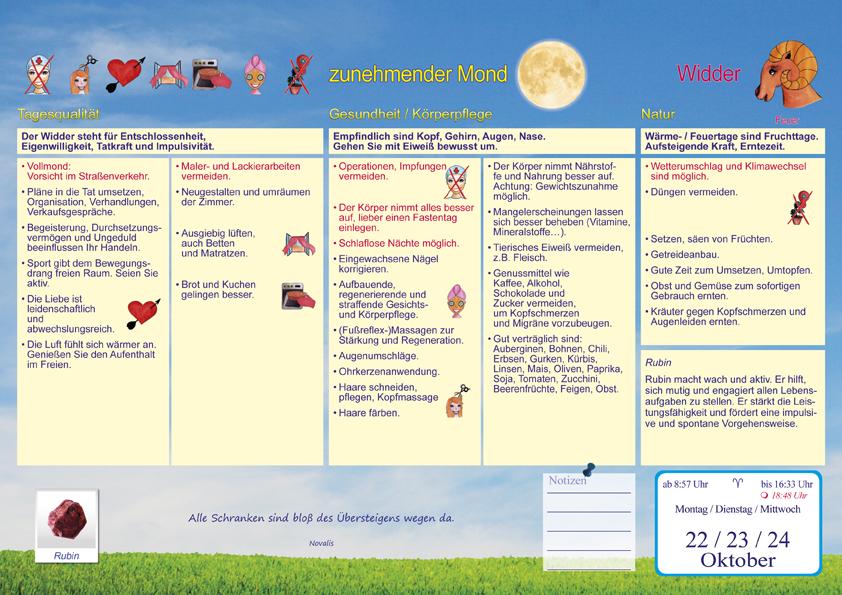 Gesundheitsmond Mondkalender 2018 Taschenkalender Din A6