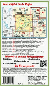 Radwander- und Wanderkarte Flusslandschaft Burg, Jerichow, Tange