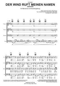 Santiano: 'Der Wind ruft meinen Namen' für Männerchor (TTBB/Pian