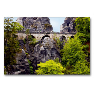 Premium Textil-Leinwand 90 cm x 60 cm quer Basteibrücke im Elbsa