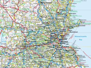 New England 1 : 800 000. Straßenkarte