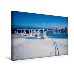 Premium Textil-Leinwand 45 cm x 30 cm quer Skispur in die Ferne