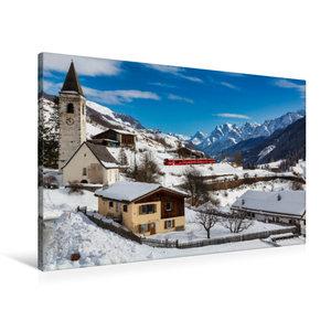 Premium Textil-Leinwand 90 cm x 60 cm quer Unterengadin: Engadin