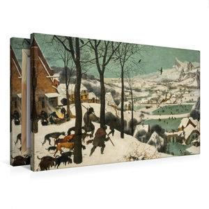 Premium Textil-Leinwand 75 cm x 50 cm quer Jäger im Schnee (Wint