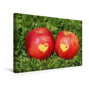Premium Textil-Leinwand 45 cm x 30 cm quer Äpfel mit Herz
