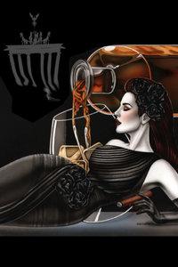 Premium Textil-Leinwand 60 cm x 90 cm hoch somking Lady in the 2