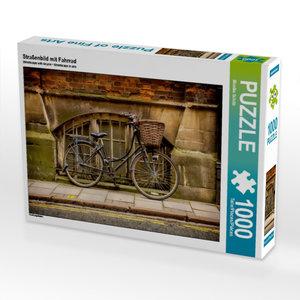 Straßenbild mit Fahrrad 1000 Teile Puzzle quer