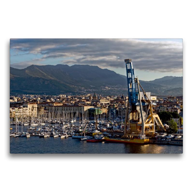 Premium Textil-Leinwand 75 cm x 50 cm quer Palermo Hafen - zum Schließen ins Bild klicken