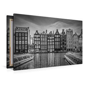 Premium Textil-Leinwand 120 cm x 80 cm quer AMSTERDAM Damrak mit