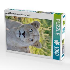 CALVENDO Puzzle KATZEN PORTRAITS Weiße Löwen aus Afrika 1000 Tei