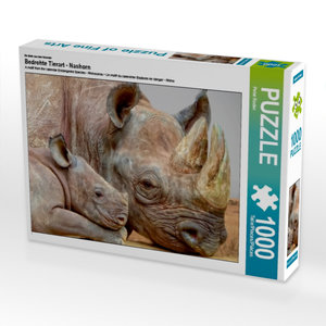 CALVENDO Puzzle Bedrohte Tierart - Nashorn 1000 Teile Lege-Größe