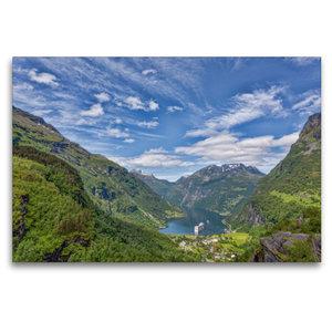 Premium Textil-Leinwand 120 cm x 80 cm quer Geirangerfjord