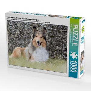 Highland Hawk Fame vor Palmkatzenzweigen 1000 Teile Puzzle quer