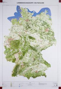 Landbedeckungskarte Deutschland 1 : 750 000. Wandkarte plano, ge