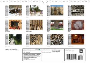 Holz - so vielfältig (Wandkalender 2020 DIN A4 quer)