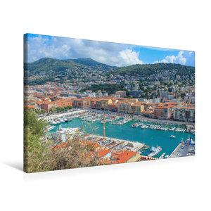 Premium Textil-Leinwand 75 cm x 50 cm quer Hafenbecken von Nizza