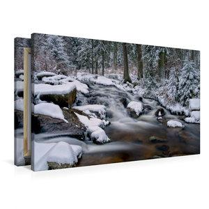 Premium Textil-Leinwand 90 cm x 60 cm quer Bodewasserfall