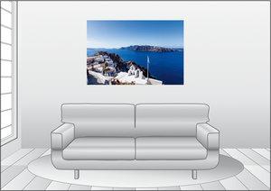 Premium Textil-Leinwand 120 cm x 80 cm quer Nordseite von Oia